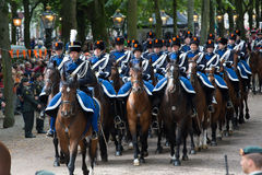 Prinsjesdag. THE HAGUE, HOLLAND - SEPT 17: Cavalry accompanying the Golden Coach with Queen Maxima and King Willem-Alexander on Prinsjesdag (opening of Royalty Free Stock Photo