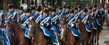 Prinsjesdag. THE HAGUE, HOLLAND - SEPT 17: Cavalry accompanying the Golden Coach with Queen Maxima and King Willem-Alexander on Prinsjesdag (opening of Stock Photography