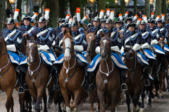 Prinsjesdag. THE HAGUE, HOLLAND - SEPT 17: Cavalry accompanying the Golden Coach with Queen Maxima and King Willem-Alexander on Prinsjesdag (opening of Stock Images
