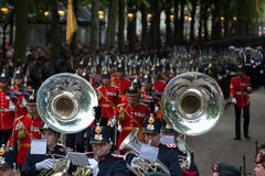 Prinsjesdag. THE HAGUE, HOLLAND - SEPT 17: Music accompanying the Golden Coach with Queen Maxima and King Willem-Alexander on Prinsjesdag (opening of Royalty Free Stock Image