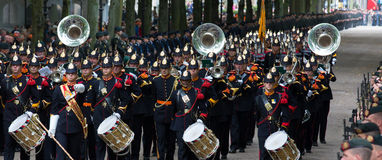 Prinsjesdag. THE HAGUE, HOLLAND - SEPT 17: Music accompanying the Golden Coach with Queen Maxima and King Willem-Alexander on Prinsjesdag (opening of Royalty Free Stock Photo