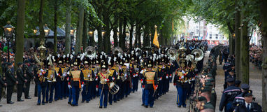 Prinsjesdag. THE HAGUE, HOLLAND - SEPT 17: Music accompanying the Golden Coach with Queen Maxima and King Willem-Alexander on Prinsjesdag (opening of Stock Image