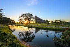 PRINSmahidol ZAAL, Mahidol-Universiteit, Salaya, Phutthamonthon-district, de Provincie van Nakhon Pathom, Thailand Stock Fotografie