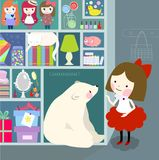 Little girls in playroom with the shells and toys play with bear vector illustration