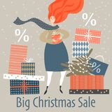 Christmas sale banner. Lovely girl with gifts. stock photography