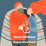 Christmas card in cartoon style. Cute couple drinks mulled wine royalty free stock photos