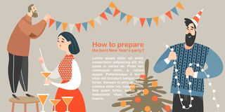 Funny characters are preparing New Year party vector illustration
