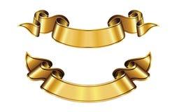 Golden ribbons design vector blank sign. Illustration royalty free illustration