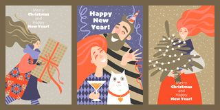 Set of cards for Christmas and New Year with funny characters stock photography