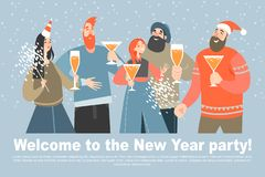 Invitation card for New Year party. Happy friends royalty free stock photography
