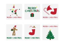 Set of 6 Christmas cards. Merry Christmas card with vector illustrations. Christmas gifts tags. Star shape with element, gift box, red sock,hat and candy stock illustration