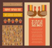 Thanksgiving and Autumn design elements with coordinating background pattern. Abstract turkeys, text designs, and nature. For greeting cards, web pages stock illustration