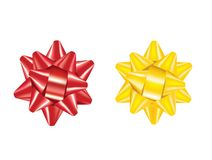 Red and yellow bow royalty free stock photos