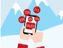 Hand with red sleeves holding smartphone with SALE text and Red discount circles on Blue mountains with snow background. 10, 50, 70, 80 percent of, Buy one get stock illustration