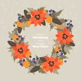 Christmas wreath of fir branches, cones, flowers and berries. royalty free illustration