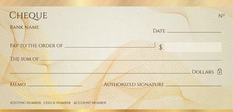 Check, Cheque Chequebook template. Guilloche pattern with abstract line  watermark, border stock illustration