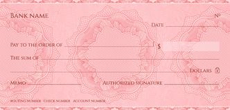 Check, Cheque Chequebook template. Guilloche pattern with abstract floral watermark, border stock illustration