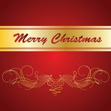 Vector Christmas card. Golden letters on red background. Golden letters on red background stock illustration