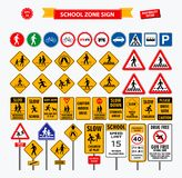 Set of school sign zone, pedestrian, and other street school zone vector illustration