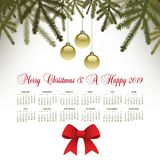 A pine motif Merry Christmas background. With a 2019 calendar for print or web use vector illustration