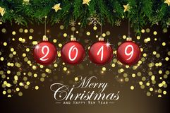 2019 new year card with red Christmas balls. Illustration of 2019 new year card with red Christmas balls stock illustration