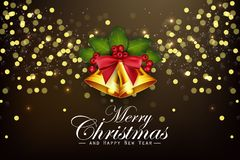 Christmas background golden bells and holly berries. Illustration of Christmas background golden bells and holly berries royalty free illustration
