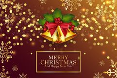 Christmas background golden bells and holly berries. Illustration of Christmas background golden bells and holly berries vector illustration