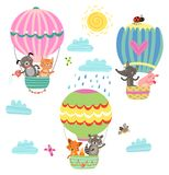 Animals fly in a hot air balloon. Illustration. Animals fly hot air balloon. Illustration vector illustration