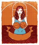 Basketball Pinup Girl Holding Basketballs vector illustration