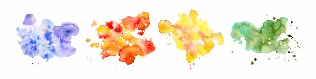 Abstract watercolor shapes on white background. Color splashing hand drawn vector painting. Abstract watercolor shapes on the white background. Color splashing stock illustration