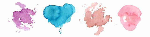 Abstract watercolor shapes on white background. Color splashing hand drawn vector painting. Abstract watercolor shapes on the white background. Color splashing royalty free illustration