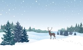 Christmas background. Snow winter landscape with deer. royalty free illustration