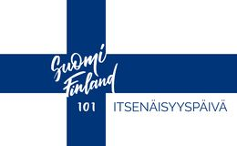 Suomi Finland, 101 years of independence - text on Finnish language. Suomi, Finland, 101 years of independence- text on finnish language, typography, calligraphy stock illustration
