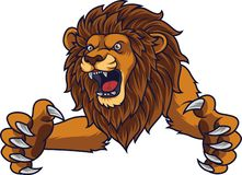 Angry leaping lion royalty free illustration