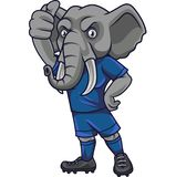 Cartoon elephant soccer mascot showing thumb up royalty free illustration
