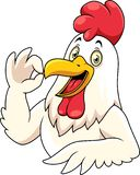 Cartoon happy rooster with showing OK sign gesture vector illustration