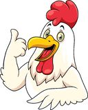 Cartoon happy rooster with showing thumbs up royalty free illustration