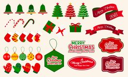 Christmas Decorative Elements Vector. Christmas Ornaments Collections stock illustration