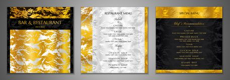 Design Restaurant Menu template. Gold, silver marble textured stock illustration