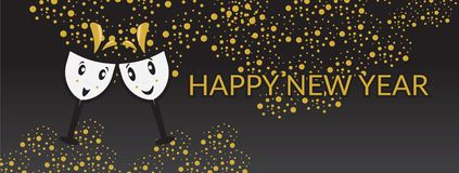 Happy new year banner with cartoon wine glasses. Gold and Black Happy New Year banner with two cute cartoon wine glasses vector illustration