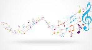 Colorful music notes background stock illustration