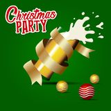 Christmas Party With Beer splash in glass and gold decorations Background Vector. Beer background vector illustration. Banner design for christmas vector illustration