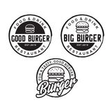 Burger logo design inspiration with Hipster Drawing style - Vector vector illustration