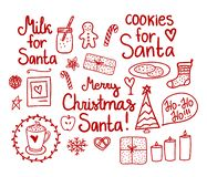 Merry Christmas Doodle Set. Vector red hand drawing holiday elements isolated on white background. Cookies and Milk for Santa. Merry Christmas Doodle Set royalty free illustration