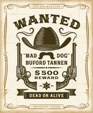 Vintage Western Wanted Label Graphics royalty free illustration