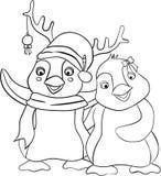 Happy Penguin Christmas Coloring Book. For children stock illustration