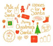 Merry Christmas Set Vector gold and red hand drawing holiday elements isolated on white background. Cookies and Milk for Santa. Merry Christmas Set cute mini royalty free illustration