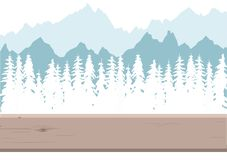 Snow-covered forest and mountains royalty free illustration