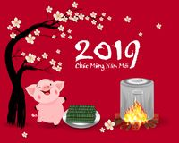 Happy new year 2019 and Merry christmas in vietnamese. Happy Chinese New Year 2019, Year of the Pig. Chinese characters mean Happy New Year