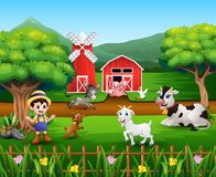 Farm scenes with many animals and farmers. Illustration of Farm scenes with many animals and farmers vector illustration